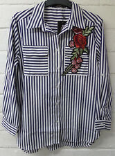 Women Ladies New Short Cotton Blue Stripe Floral Embroided Top/Shirt/Blouse 7015