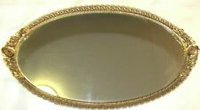 Vintage Gold Ormolu Gilt Filigree Mirror Vanity Tray Hand Brush Set Roses Matson
