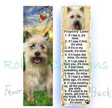 Cairn Terrier Bookmark Dog Rules Property Law Tan Cream Book Mark Figurine Card
