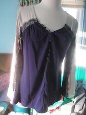 ALFANI Size 8 NWT Purple & Beige fancy dressy knit top shirt NWT NEW~$69