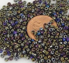 11/0  Japanese Round Seed Glass Beads metallic Dark Olive Iris 15g