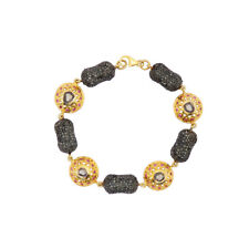 925 Sterling Silver Yellow Gold Plated Victorian Jewelry Bracelet For Women