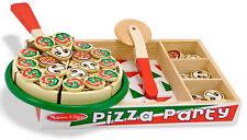 MELISSA & Doug SET PIZZA in Legno Gioco Cibo Gioco di Ruolo Giocattolo Regalo Bambino Bambina Nuovo Con Scatola