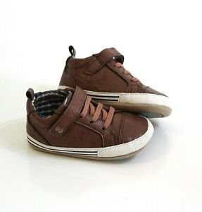 Surprize by Stride Rite Baby Boy Shoes Size 6 12 Months Brown Faux Leather