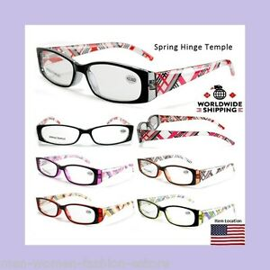 Womens Readers Reading Glasses Black Red Fashion Designer Strengths +1.50- +3.50