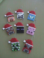 Perler Minecraft Christmas/Holiday Ornaments - Set of 8