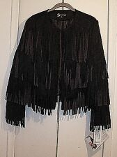 SERENA WILLIAMS  SIZE  M BLACK FAUX SUEDE ALL OVER FRINGED JACKET CHEST 40""