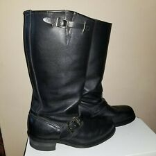 VINTAGE Frye  Engineer Moto Boho Tall Black Leather Boots * sz9 *Good Condition