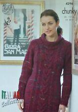 KNITTING PATTERN Ladies Long Sleeve Roll Neck Sweater Dress Chunky KingCole 4296