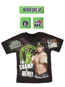 John Cena Champ Is Here WWE T-shirt Headband Wristbands Boys Juvy