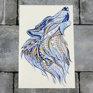 Stained Glass Style Howling Wolf Vinyl Sticker Decal Wall Car Van  - SKU6208