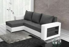 corner sofa bed sleeping option living room white leather grey fabric storage