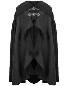 Devil Fashion Mens Dieselpunk Shearling Cloak Coat Black Goth Apocalyptic Winter