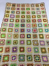 """Granny Squares Afghan Quilt Throw Coverlet 66"""" By 43"""" Vintage Handmade Colorful"""