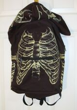 Skeleton Bones w/ Skull Hood Black Backpack Rib Cage Waterproof
