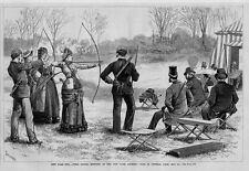 NEW YORK ARCHERY CLUB IN CENTRAL PARK FIRST SPRING MEETING WOMAN SHOOTING TARGET