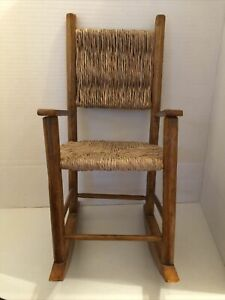 Vinage Woven Seat An Back  Doll Chair. 15 Inches Tall