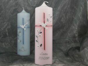 Taufkerze Kerze Taufe Kommunionkerze Junge Mädchen rosa blau 25/7 cm 16549