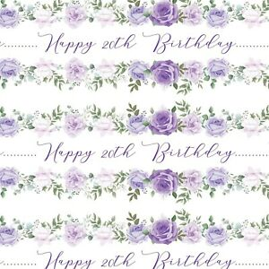 PERSONALISED ELEGANT FLOWERSN AME HAPPY BIRTHDAY GIFT WRAPPING PAPER ADULT WOMEN