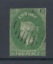 Ceylon Sc 4a used 1857 2p yellow green imperf QV, light cancel
