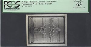 Portugal - Letter de Credit ND(ca1929) Photographic Proof Uncirculated