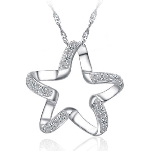 Women's Silver Colour Chic Star Pendant Necklace with gift bag