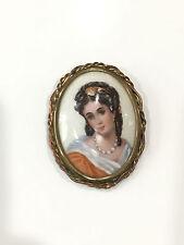 Vintage Limoges France French Porcelain Portrait Oval Plaque Woman Pin / Brooch