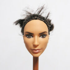 Head for Barbie Doll Black Hair Wonder Woman Face DIY Doll Body Part Soft Head