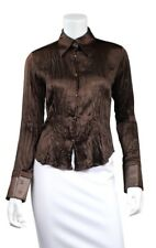 ROBERTO CAVALLI Brown Silk & Leather Trim Point Collar Button Up Blouse Top - M