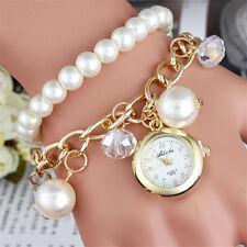 Mode Perlé Charm Faux Pierre Précieuse Perle Cadran Rond Bracelet Montre