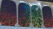 100% Nail Polish Strips/wrap! Glitter Rainbow Black Design Cute!