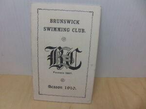 Brunswick Swimming Club Camberwell Membership Fixtures Booklet Season 1910