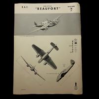 """WWII 1942 British RAF Torpedo Bomber """"Bristol Beaufort"""" W.E.F.T.U.P. ID Poster"""
