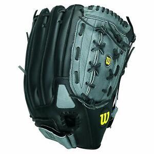 Wilson A360 Slowpitch Softball Glove 14 Inches RHT Grey/Black