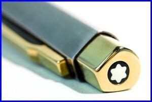 Montblanc LEONARDO Ballpoint Pen Specially-Shaped, Titanium + Gold colored 1980'