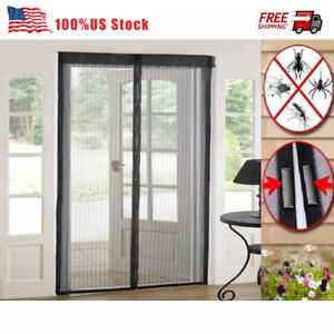 Hands-Free Magnetic Screen Door Heavy Duty Mesh Anti Mosquito Fly Bug Curtain US