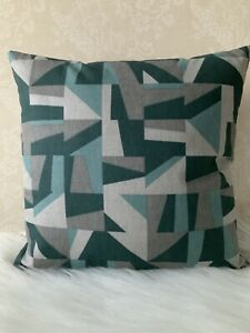 "*** SALE ******16 X 16"" Geometric Cushion Cover Reversable Modern teal grey"