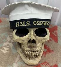 VINTAGE BRITISH ROYAL NAVY HMS OSPREY SHIP SAILORS WHITE CAP HAT