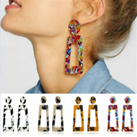 Mottled Acrylic Dangle Drop Statement Earrings Women Resin Elegant Jewelry Gift