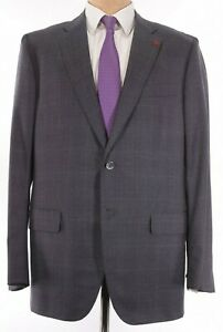 ISAIA NWT Suit Size 48L In Gray W/ Purple Plaid Super 160s Wool Sanita $3,995