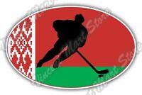 """Belarus Flag Ice Hockey KHL NHL Team Oval Car Bumper Vinyl Sticker Decal 6""""X4"""""""