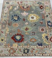 Oushak 8x10 HandKnotted Wool Rug Gray Pink Red Yellow Blue Ivory 1/2 pile