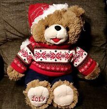 "2019 WALMART CHRISTMAS SNOWFLAKE TEDDY BEAR BROWN BOY 20"" RED OUTFIT NWT"