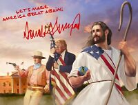 PRESIDENT DONALD TRUMP AUTOGRAPH WITH JESUS CHRIST JOHN WAYNE 8X10 PHOTO POSTER