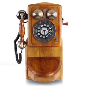 Pyle Home Single Line Wall Mounted Vintage Retro 1920s Country Style Telephone