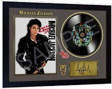 Michael Jackson Bad SIGNED FRAMED PHOTO PRINT AND Mini LP Perfect Gift