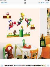 17 adesivi per parete tema super mario bros 50x70cm