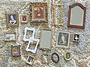 16 Dollhouse 1:12 Frames Lot Miniatures Art Pictures Prints Vintage Ornate