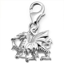 Sterling Silver Welsh Dragon 3D Clip On Charm 925 with Gift Box
