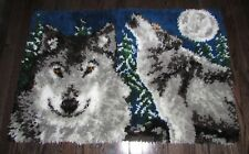 "VINTAGE COMPLETED  LATCH HOOKED RUG  ""MIDNIGHT WOLF""   39"" X 26"""